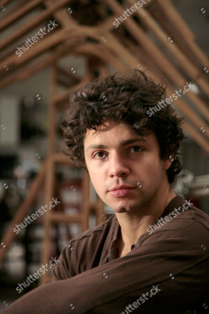 British artist Conrad Shawcross in his east London Studio. He is the son of the writers William Shawcross and Marina Warner. He is best known for complex wooden, mechanical sculptures that mix philosophical and scientific ideas. He came to prominence as part of the 2004 New Blood exhibition at the Saatchi Gallery (a working loom producing over 20 thousand metres of rope every week).