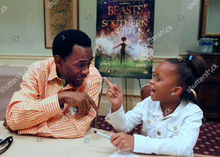 """Quvenzhané Wallis, Dwight Henry Actors Dwight henry, left, and Quvenzhané Wallis, first time actors who play the starring roles in the movie """"Beasts Of The Southern Wild,"""" speak during an interview in New Orleans"""