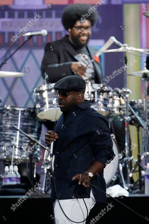 """Ahmir Thompson, Questlove, Tariq Trotter, Black Thought The Roots' Tariq """"Black Thought"""" Trotter and Ahmir """"Questlove"""" Thompson, on drums, perform during an Independence Day celebration, in Philadelphia"""