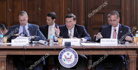 John Mica, Rep. Jeff Denham, Rep. Mario Diaz-Balart House Transportation and Infrastructure Committee Chairman Rep. John Mica, R-Fla., center, flanked by Rep. Jeff Denham, R-Calif., left, and Rep. Mario Diaz-Balart, R-Fla., right, gestures as he asks a question during a hearing at the David W. Dyer courthouse in Miami, . Mica questioned General Services Administration (GSA) and U.S. Government Accountability Office (GAO) officials during an ongoing investigation to stop the federal government from wasting billions of dollars of taxpayer's money by sitting on its assets and mismanaging valuable federal-owned properties