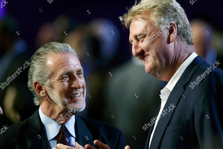 Pat Riley, Larry Bird Pat Riley, left, chats with Larry Bird prior to the Naismith Memorial Basketball Hall of Fame enshrinement ceremony at Symphony Hall in Springfield, Mass