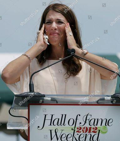 Jennifer Capriati International Tennis Hall of Fame inductee Jennifer Capriati of Tampa, Fla. becomes emotional as she speaks during induction ceremonies in Newport, R.I