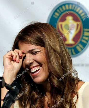 Jennifer Capriati International Tennis Hall of Fame inductee Jennifer Capriati, of Tampa, Fla., laughs during a news conference prior to induction ceremonies in Newport, R.I