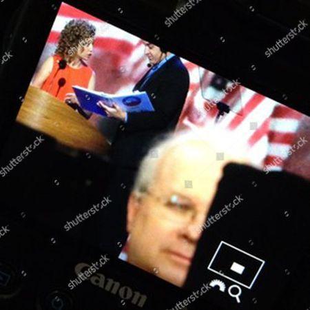 Debbie Wasserman Schultz, Karl Rove POLITICAL POTPOURRI: Debbie Wasserman Schultz podium check as Karl Rove does a FOX news hit from floor of DNC Charlotte #aponthetrail