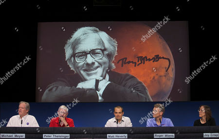 Michael Meyer, Peter Theisinger, Matt Heverly, Roger Wiens, Joy Crisp NASA scientists named the Curiosity touch-down area Bradbury Landing after writer Ray Bradbury, seen on screen, at the Jet Propulsion Laboratory in Pasadena, Calif., . The six-wheel rover made its first test drive on Wednesday as a warm-up for the long trek to the mountain expected later this year. Shown from left: Dr. Michael Meyer, lead scientist for the Mars Exploration program at NASA Headquarters, Peter Theisinger, MSL project manger, NASA JPL, Pasadena; Matt Heverly, Lead Curiosity Driver; Roger Wiens, principal investigator of ChemCam, and Joy Crisp, MSL deputy project scientist