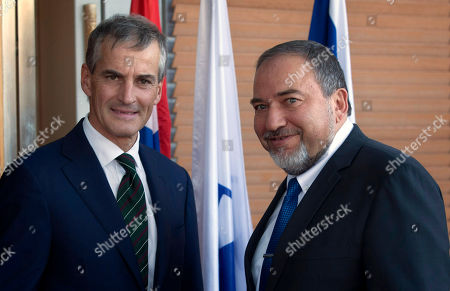 Avigdor Lieberman, Jonas Gahr Stoere Israeli Foreign Minister Avigdor Lieberman, right, poses with his Norwegian counterpart Jonas Gahr Stoere, during their meeting in the foreign ministry in Jerusalem, . Gahr Stoere is on an official visit to the region