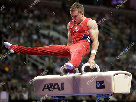 Jonathan Horton competes on the pommel horse during the final round of the men's Olympic gymnastics trials, in San Jose, Calif
