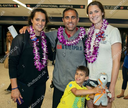Maggie Steffens, Adam Krikorian, Jessica Steffens, Jack Krikorian Adam Krikorian, head coach of the U.S. women's national water polo team, center, arrives with gold medal winners: Maggie Steffens, left, and sister Jessica Steffens as they arrive from the London' Summer Olympics at Los Angeles International airport . At right is Krikorian's son Jack, 6. The U.S. women won the Olympic tournament for the first time, beating the 2008 champion the Netherlands