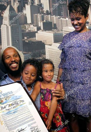 Ziggy Marley, Karen Marley Children of reggae icon Bob Marley, son, Ziggy Marley, left, with his two children Gideon and Nesta, and daughter Karen Marley, right, after the announcement by the Los Angeles City Council declaring to be Bob Marley Day in Los Angeles. Marley was 36 when he died of cancer in 1981