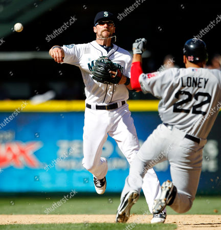 Brendan Ryan, James Loney Seattle Mariners shortstop Brendan Ryan, left, throws to first after forcing out Boston Red Sox's James Loney at second base in the ninth inning of a baseball game, in Seattle. Mike Aviles was safe at first on the fielder's choice. The Mariners won 4-1