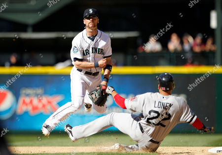 Brendan Ryan, James Loney Seattle Mariners shortstop Brendan Ryan, left, throws to first after forcing out Boston Red Sox James Loney at second base in the ninth inning of a baseball game, in Seattle. Mike Aviles was safe at first on the fielder's choice. The Mariners won 4-1