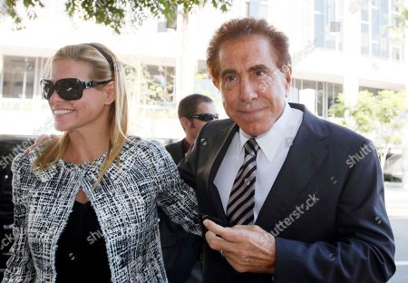 """Steve Wynn, Andrea Wynn Casino mogul Steve Wynn arrives at court with his wife, Andrea, for his slander trial in Los Angeles. Wynn is contesting accusations made by """"Girls Gone Wild"""" creator, Joe Francis"""