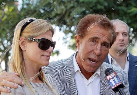 """Seve Wynn Casino mogul Steve Wynn and his wife, andrea, arrive at court for his slander trial in Los Angeles. Wynn is contesting accusations made by """"Girls Gone Wild"""" creator, Joe Francis. Closing arguments are scheduled"""