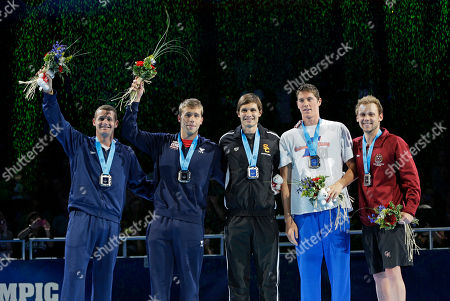 Tyler Clary, Nick Thoman, Eric Shanteau, Conor Dwyer, Alex Meyer Tyler Clary, from left, Nick Thoman, Eric Shanteau, Conor Dwyer and Alex Meyer pose as they are qualified for the U.S Olympic team during the medal ceremony at the U.S. Olympic swimming trials, in Omaha, Neb