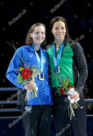 Kathleen Ledecky, Kate Ziegler Kathleen Ledecky, left, and Kate Ziegler pose during the medal ceremony for the women's 800-meter freestyle at the U.S. Olympic swimming trials, in Omaha, Neb