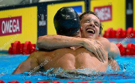 Eric Shanteau, Brendan Hansen Brendan Hansen, left, is congratulated by Eric Shanteau after winning the men's 100-meter breaststroke final at the U.S. Olympic swimming trials, in Omaha, Neb