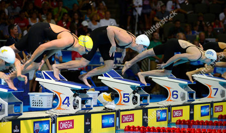 Chloe Sutton, Allison Schmitt, Kathleen Ledecky Chloe Sutton, from left, Allison Schmitt and Kathleen Ledecky start in the women's 400-meter freestyle final at the U.S. Olympic swimming trials, in Omaha, Neb. Schmitt won the final