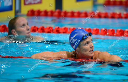 Dara Torres, Jessica Hardy Dara Torres reacts after swimming in the women's 50-meter freestyle final at the U.S. Olympic swimming trials, in Omaha, Neb. Jessica Hardy, left, won the final