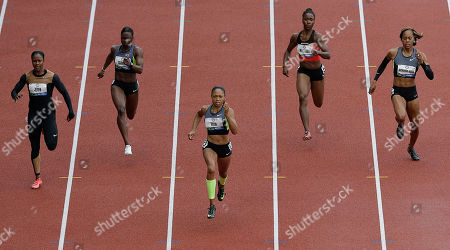 Carmelita Jeter, Allyson Felix, Jeneba Tarmoh, Tianna Madison, Sanya Richards-Ross Allyson Felix, center, leads the pack in the women's 200 meter final at the U.S. Olympic Track and Field Trials, in Eugene, Ore. At rear, from left, are Carmelita Jeter, Jeneba Tarmoh, Tianna Madison and Sanya Richards-Ross
