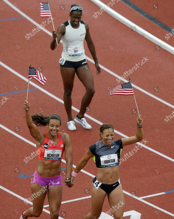 Chantae McMillan, Hyleas Fountain, Sharon Day Heptathletes Chantae McMillan, lower left, Hyleas Fountain, lower right, and Sharon Day, rear, celebrate making the Olympic team at the U.S. Olympic Track and Field Trials, in Eugene, Ore