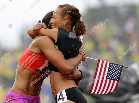 Chantae McMillan, Hyleas Fountain Heptathletes Chantae McMillan, left, and Hyleas Fountain celebrate making it to the Olympics at the U.S. Olympic Track and Field Trials, in Eugene, Ore