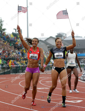 Chantae McMillan, Hyleas Fountain, Sharon Day Heptathletes Chantae McMillan, left, Hyleas Fountain, center, and Sharon Day, right rear, celebrate making it to the Olympics at the U.S. Olympic Track and Field Trials, in Eugene, Ore