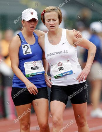 Miranda Melville, Erin Gray Miranda Melville, left, and Erin Gray embrace at the end off the women's 20-kilometer race walk at the U.S. Olympic Track and Field Trials, in Eugene, Ore. Melville placed second in the race and Gray placed third