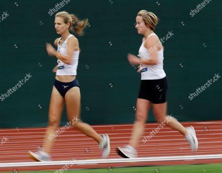 Stock Image of Maria Michta, Erin Gray Maria Michta runs ahead of Erin Gray during the women's 20-kilometer race walk at the U.S. Olympic Track and Field Trials, in Eugene, Ore. Michta won the race and Gray placed third