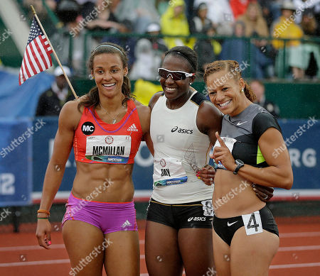 Chantae McMillan, Sharon Day, Hyleas Fountain Heptathletes Chantae McMillan, left, Sharon Day, center, and Hyleas Fountain celebrate making it to the Olympics at the U.S. Olympic Track and Field Trials, in Eugene, Ore