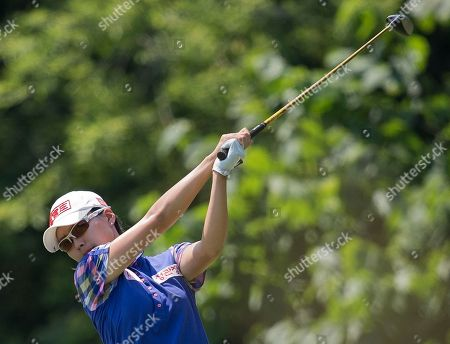 Sun Young Yoo tees off the ninth hole during the second round of the U.S. Women's Open golf tournament, in Kohler, Wis