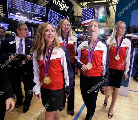 Mary Whipple, Meghan Mushnicki, Erin Cafaro, Esther Lofgren U.S. women's rowing eight Olympic gold medalists from left: Mary Whipple, Meghan Mushnicki, Erin Cafaro, and Esther Lofgren, visit the trading floor of the New York Stock Exchange, before ringing the opening bell