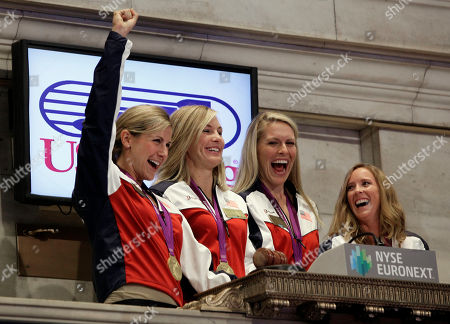 Mary Whipple, Meghan Mushnicki, Erin Cafaro, Esther Lofgren U.S. women's rowing eight Olympic gold medalists from left: Erin Cafaro, Meghan Mushnicki, Esther Lofgren, and Mary Whipple celebrate as they ring the New York Stock Exchange opening bell