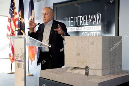 Ronald Perelman, Ronald O. Perelman Performing Arts Center Ronald Perelman, stands beside a scale model of the Ronald O. Perelman Performing Arts Center, at the World Trader Center site, during the official design unveiling in New York, . The center, scheduled to open in 2020, will be shaped like a cube and made out of translucent marble. It will have three theaters with moveable walls that could be reconfigured for works of dance, opera, music and theater