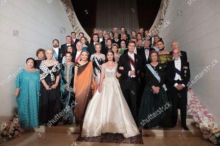 Grand Duchess Maria of Russia, Princess Michael of Kent, Princess Lalla Meryem of Morocco, Princess Elia of Albanian, Prince Leka II of Albanian, Former Queen Sofia of Spain, Prince Michael of Kent, Madame Jahed Khosrovani Diba, Crown Princess Katherine of Serbia, Crown Prince Alexander of Serbia, Duchess of Castro, Crown Princess Margarita of Romania, Princess Isabel of Liechtenstein, Prince Philipp von und zu Liechtenstein, Grand Duke George of Russia, Duke of Castro, Archduchess Eilika von Habsbourg Lothringen, Archduke Georg von Habsburg-Lothringen, Princess Maria Pia de Savoie, Princess Nesrine Toussoun of Egypt, Princess Lea of Belgium, Princess Gloria, Prince and Princess Alvaro de Orleans-Borbon, Princess Elisabeth Thurn und Taxis, Prince Ali of Egypt, Prince Georg Friedrich of Prussia, Hereditary Grand Duke Guillaume of Luxembourg and Princess Sibilla of Luxembourg pose for a family picture