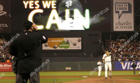 Ted Barrett, Matt Cain Home plate umpire Ted Barrett waits as San Francisco Giants pitcher Matt Cain warms up before the ninth inning of a baseball game against the Houston Astros in San Francisco, . Barrett was behind the plate Wednesday night when San Francisco Giants' right-hander Matt Cain pitched a perfect game against the Houston Astros in a 10-0 victory. He also was the home plate umpire when David Cone threw his perfect game for the New York Yankees in a 6-0 win over the Montreal Expos on July 18, 1999. It makes Barrett the first major league umpire to call balls and strikes for two perfect games