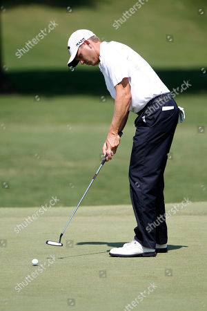 Stock Picture of Derek Lamely Derek Lamely putts on the fourth green during the second round of the PGA Byron Nelson Championship golf tournament, in Irving, Texas