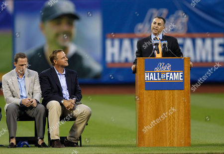 David Cone, Al Leiter, John Franco Former New York Mets pitchers David Cone, left, and Al Leiter, listen as former teammate and closer John Franco speaks during his induction into the Mets Hall of Fame in an on-field ceremony before the start of the Mets baseball game against the St. Louis Cardinals at Citi Field in New York