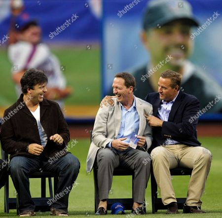 Todd Zeile, David Cone, Al Leiter Former New York Mets third baseman Todd Zeile, left, reacts as former pitchers David Cone and Al Leiter joke around during the team's Hall of Fame ceremony for former closer John Franco before a baseball game against the St. Louis Cardinals at Citi Field in New York