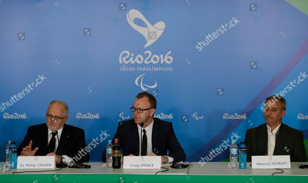 Sir Philip Craven, Craig Spence, Masoud Ashrafi, Bahman Golbarnezhad The president of the International Paralympic Committee, Sir Philip Craven, left, speaks during a press conference with the head of communications of the International Paralympic Committee Craig Spence, center, and the secretary general of Iran National Paralympic Committee, Masoud Ashrafi listen to talk about the Iran's cyclist Bahman Golbarnezhad who died after crashing in a road race during the Paralympic Games in Rio de Janeiro, Brazil