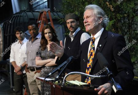 John Kitzhaber, David Giuntoli, Russell Hornsby, Bitsie Tulloch, Silas Weir Mitchell Oregon Gov. John Kitzhaber, right, is joined by stars from the NBC television series Grimm to celebrate the kickoff for production of their second season in Portland, Ore., . Grimm, which is primarily filmed in Portland, helped create a record year for film and television production with over $130 million spent in Oregon. From left are David Giuntoli, Russell Hornsby, Bitsie Tulloch, Silas Weir Mitchell and Kitzhaber