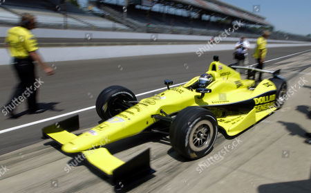 Sarah Fisher IndyCar driver Josef Newgarden leaves the pit area during practice for the Indianapolis 500 auto race at the Indianapolis Motor Speedway in Indianapolis