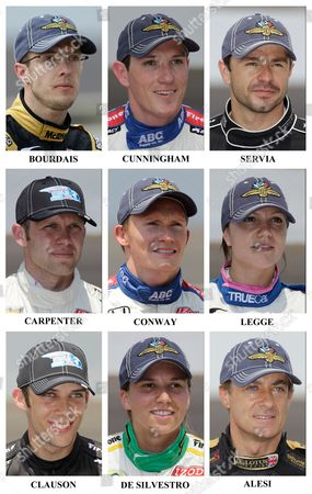 Sebastien Bourdais, Wade Cunningham, Oriol Servia, Ed Carpenter, Mike Conway, Katherine Legge, Bryan Clauson, Simona de Silvestro, Jean Alesi This combination made of photos taken, shows drivers in the starting field for IndyCar's Indianapolis 500 auto race after they qualified at Indianapolis Motor Speedway in Indianapolis. Ninth row: Sebastien Bourdais, of France; Wade Cunningham, of New Zealand; Oriol Servia, of Spain. Tenth row: Ed Carpenter; Mike Conway, of England; Katherine Legge, of England. Eleventh row: Bryan Clauson, Simona de Silvestro, of Switzerland; Jean Alesi, of France