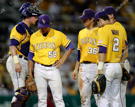 Chris Cotton LSU pitcher Chris Cotton (58) reacts before being pulled in the ninth inning of an NCAA college baseball tournament super regional game against Stony Brook in Baton Rouge, La., . Stony Brook won 7-2 and advances to the College World Series