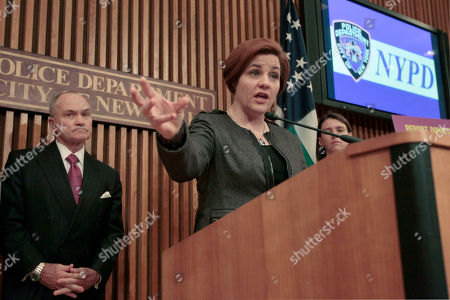"""Christine Quinn, Raymond W. Kelly New York City Council Speaker Christine Quinn, right, is joined by Police Commissioner Raymond W. Kelly during a news conference at Police headquarters in New York. On, Quinn stated that city lawmakers have reached """"broad agreement"""" on a plan to create an inspector general to oversee the New York Police Department"""