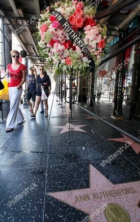 """Pedestrians walk past flowers placed on the Hollywood Walk of Fame star for actress Ann Rutherford, who died in Beverly Hills on Monday, in the Hollywood section of Los Angeles . Rutherford, the demure brunette actress who played the sweetheart in the long-running Andy Hardy series and Scarlett O'Hara's youngest sister in """"Gone With the Wind,"""" has died. She was 94"""