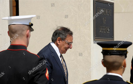 Stock Picture of Leon Panetta Defense Secretary Leon Panetta waits to host an honor cordon to welcome Finland's Defense Minister Stefan Wallin, at the Pentagon
