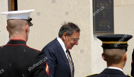 Stock Image of Leon Panetta Defense Secretary Leon Panetta waits to host an honor cordon to welcome Finland's Defense Minister Stefan Wallin, at the Pentagon