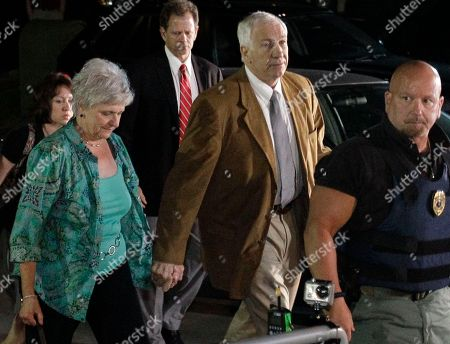 Jerry Sandusky, Dottie Sandusky Former Penn State University assistant football coach Jerry Sandusky, right center, arrives with his wife Dottie, left center, at the Centre County Courthouse in Bellefonte, Pa., . Sandusky was convicted of sexually assaulting 10 boys over 15 years, accusations that had sent shock waves through the college campus known as Happy Valley and led to the firing of Penn State's beloved Hall of Fame coach, Joe Paterno