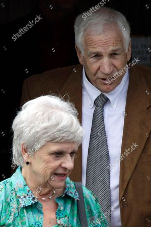 "Jerry Sandusky, Dottie Sandusky Former Penn State University assistant football coach Jerry Sandusky, rear, and his wife Dottie leave the Centre County Courthouse in Bellefonte, Pa. Dottie Sandusky said in an interview broadcast on NBC's ""Today"" she ""definitely"" believes her husband is innocent despite being convicted of sexually abusing 10 boys and that the victims' financial gain was at play"