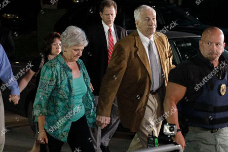 Jerry Sandusky, Dottie Sandusky Former Penn State University assistant football coach Jerry Sandusky, right center, arrives with his wife Dottie, left center, at the Centre County Courthouse in Bellefonte, Pa., . Sandusky is accused of sexually abusing 10 boys over a 15-year period